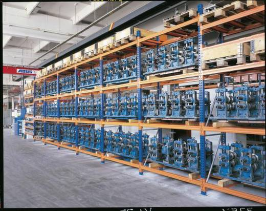 Palettenregal-Anbaumodul (B x H x T) 2800 x 5500 x 800 mm Stahl verzinkt, lackiert Verzinkt, Rot-Orange Traversen META 7