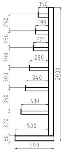 Kragarmregal-Grundfeld (B x H x T) 4050 x 2000 x 590 mm Stahl sandgestrahlt, pulverbeschichtet Enzian-Blau META 97844