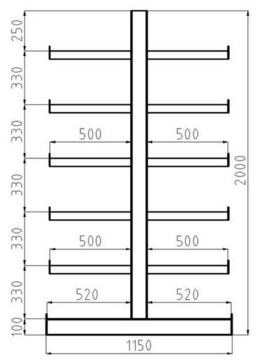 Kragarmregal-Grundfeld (B x H x T) 5400 x 2000 x 1150 mm Stahl sandgestrahlt, pulverbeschichtet Enzian-Blau META 97840