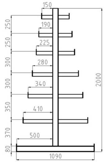 Kragarmregal-Grundfeld (B x H x T) 4050 x 2000 x 1090 mm Stahl sandgestrahlt, pulverbeschichtet Enzian-Blau META 97848