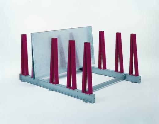 Plattenregal-Anbaumodul (B x H x T) 400 x 1040 x 1800 mm Stahl pulverbeschichtet Resedagrün BLA1800-6011