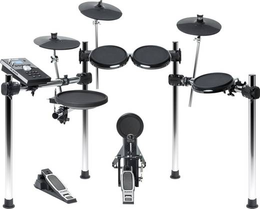 E-Drum Alesis FORGE Schwarz/Silber inkl. Drumsticks, inkl. Fußmaschine