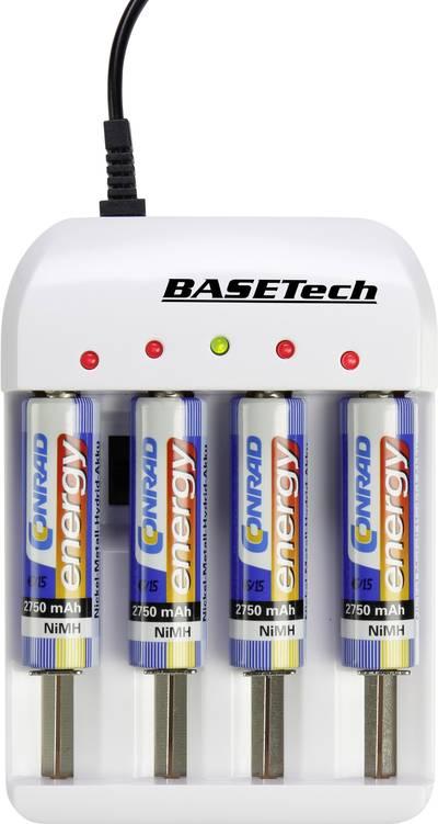 Caricabatterie universale NiCd, NiMH, NiZn, LiIon, LiFePO Basetech BTL-4.1 Ministilo (AAA), Stilo (AA), 1/2 Torcia (C),