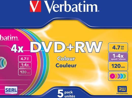 DVD+RW Rohling 4.7 GB Verbatim 43297 5 St. Slimcase Farbig