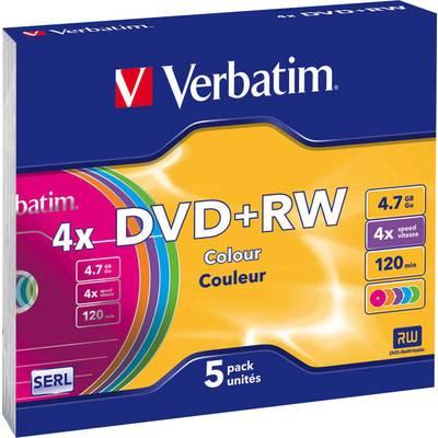DVD+RW Rohling 4.7 GB Verbatim 43297 5 St. Slimcase Farbig Preisvergleich