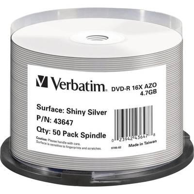 DVD-R Rohling 4.7 GB Verbatim 43647 50 St. Spindel Hochglanz Oberfläche, Bedruckbar Preisvergleich