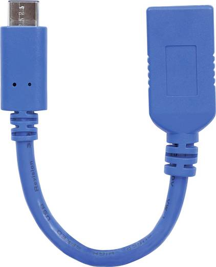USB 2.0, USB 3.0 Adapter [1x USB 3.0 Buchse A - 1x USB-C™ Stecker] Blau Einzelschirm, Folienschirm Manhattan