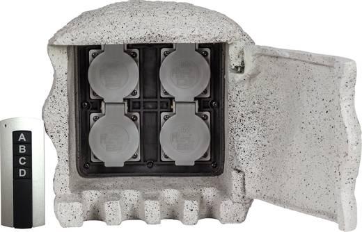 Heitronic 37504 Gartensteckdose 4fach Grau