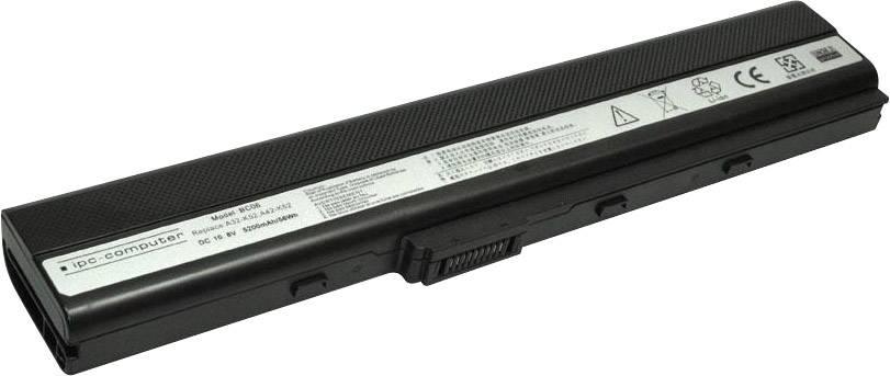 Akumulátor do notebooku ipc-computer A00K52 10.8 V 5200 mAh, Náhrada za originální akumulátor90-NXM1B2000Y, 0B20-00N30AS, 70-NXM