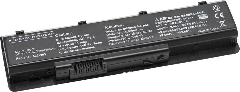 Akumulátor do notebooku ipc-computer A00N55 10.8 V 5200 mAh, Náhrada za originální akumulátorA32-N55, N55L823, 07G016J71875, 07G