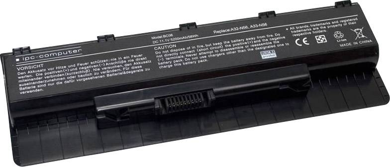 Akumulátor do notebooku ipc-computer A00N56 10.8 V 5200 mAh, Náhrada za originální akumulátor90-NAJ1B1000Y, 0B110-00060000, A32-
