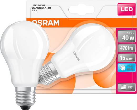 LED E27 Glühlampenform 5 W = 40 W Neutralweiß (Ø x L) 57 mm x 110 mm EEK: A+ OSRAM 1 St.