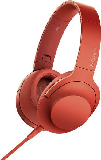 Kopfhörer Sony hear on MDR-100AAP On Ear Faltbar, High-Resolution Audio, Headset Rot