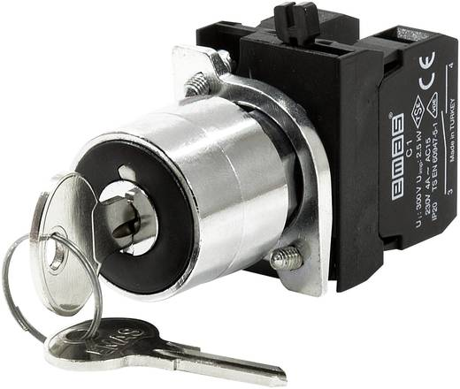 Schlüsselschalter 230 V/AC 4 A 1 x Aus/Ein 1 x 45 ° EMAS CM100AA20 IP65 1 St.