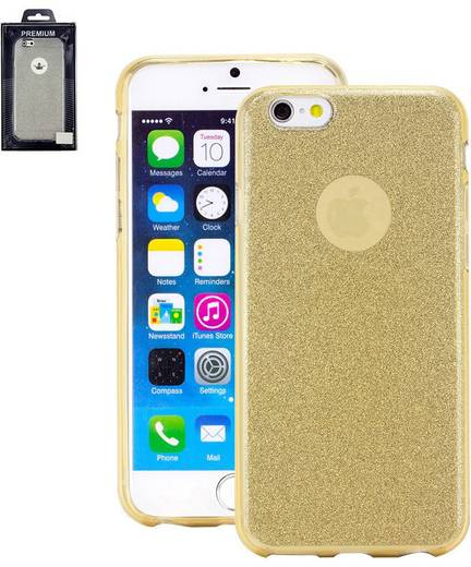 Perlecom iPhone Backcover Passend für: Apple iPhone 6, Apple iPhone 6S, Gold, Glitzereffekt