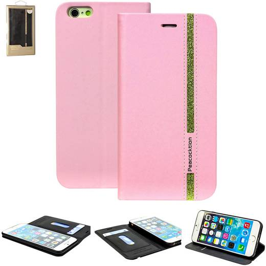 iPhone Flip Case Perlecom Passend für: Apple iPhone 6, Apple iPhone 6S, Pink