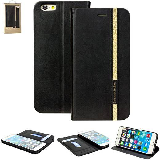 iPhone Flip Case Perlecom Passend für: Apple iPhone 6, Apple iPhone 6S, Schwarz