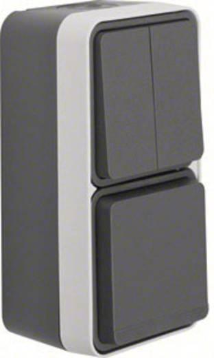 Berker Schalter/Steckdosen Kombination Aufputz W.1 Grau, Lichtgrau 47903515