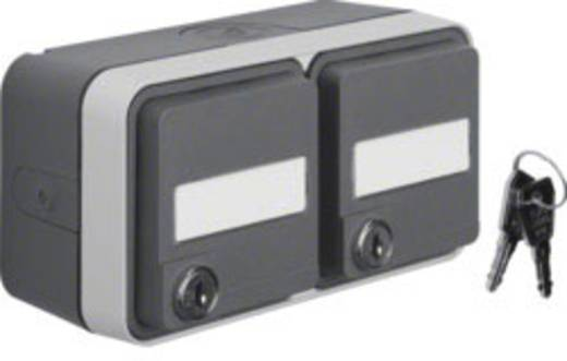 Berker 2fach Schutzkontakt-Steckdose abschließbar, Doppelsteckdose Aufputz W.1 Grau, Lichtgrau 47893525