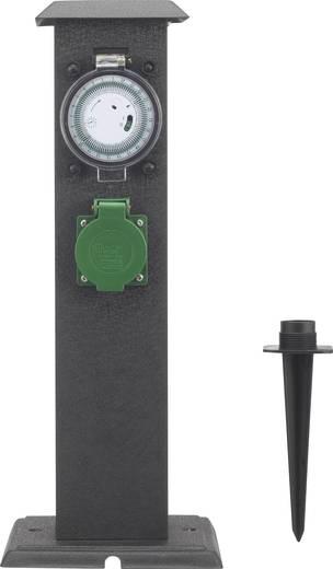 basetech gartensteckdose mit zeitschaltuhr 2fach schwarz kaufen. Black Bedroom Furniture Sets. Home Design Ideas