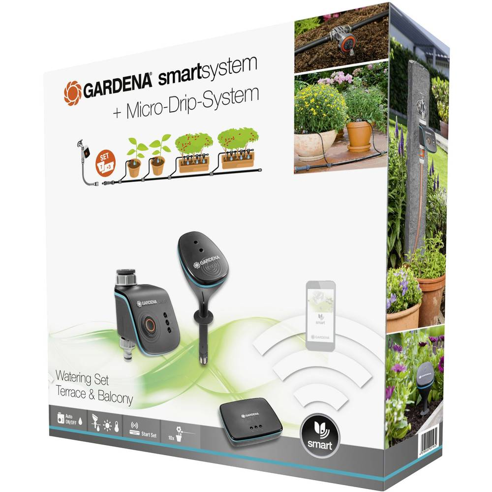gardena smartsystem smart watering set per vasi e fioriere 19105 20 in vendita online 19105 20. Black Bedroom Furniture Sets. Home Design Ideas