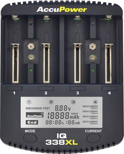 Caricabatterie universale NiCd, NiMH, LiIon AccuPower IQ338XL 10440, 14500, 16340, 16650, 17355, 17500, 17670, 18490, 1