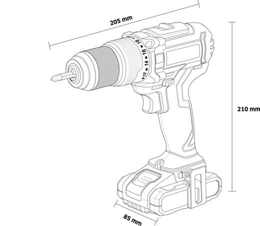 TOOLCRAFT IDD 18 Bürstenloser Akku-Schlagbohrschrauber 18 V 2 Ah Li-Ion inkl. Akku, inkl. Koffer