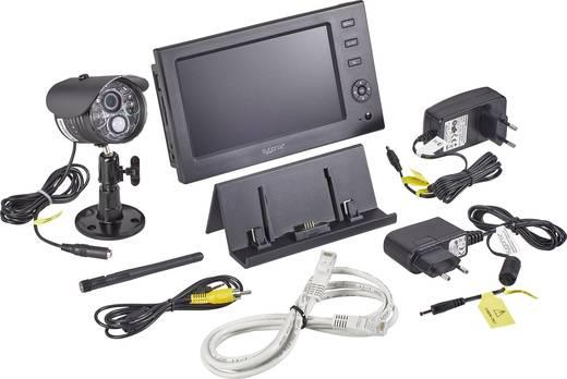 funk berwachungs set 4 kanal mit 1 kamera sygonix 16885w1 large monitor kaufen conrad. Black Bedroom Furniture Sets. Home Design Ideas
