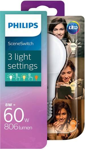 Philips Lighting LED E27 Glühlampenform 8 W = 60 W Warmweiß (Ø x L) 61 mm x 107 mm EEK: A+ SceneSwitch 1 St.