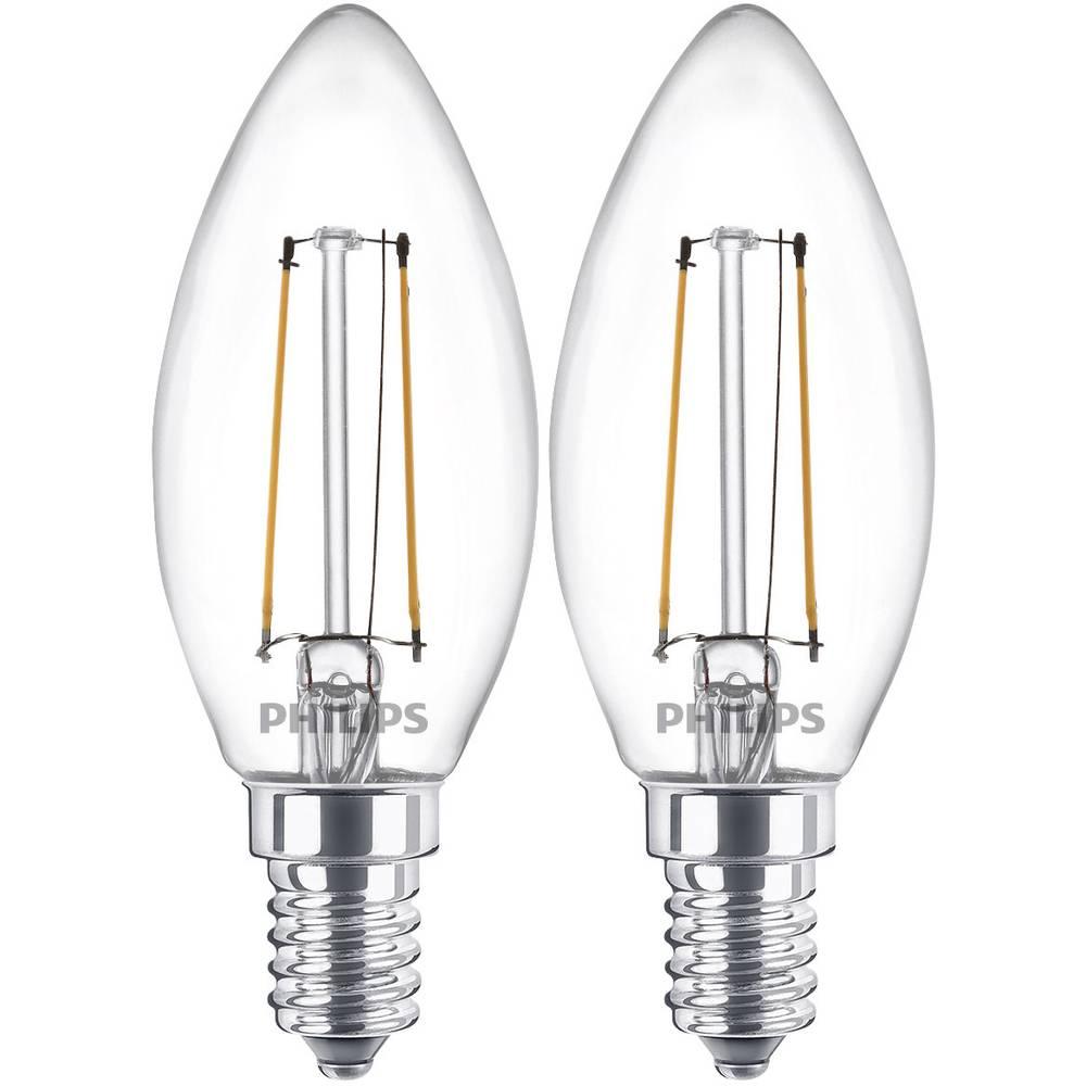 ampoule led e14 philips lighting 8718696587553 en forme de bougie 2 w 25 w blanc chaud x l. Black Bedroom Furniture Sets. Home Design Ideas