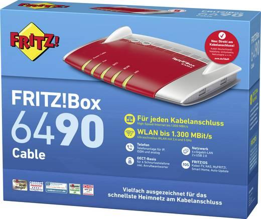 AVM FRITZ!Box 6490 Cable WLAN Router mit Modem Integriertes Modem: Kabel 2.4 GHz, 5 GHz 1.75 GBit/s