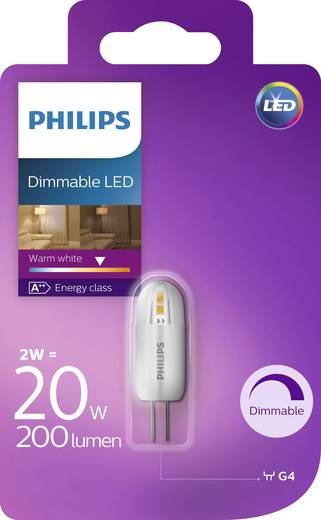 philips lighting led g4 stiftsockel 2 w 20 w warmwei x l 17 mm x 48 mm eek a dimmbar 1. Black Bedroom Furniture Sets. Home Design Ideas