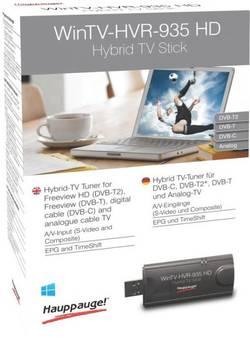 USB televizní tuner DVB-C a DVB-T2 a DVB-T Hauppauge WinTV-HVR-935HD s dálkovým ovládáním