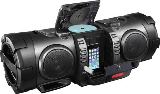JVC Boomblaster DAB+ Ghettoblaster Apple-Dock, AUX, Bluetooth®, CD, DAB+, UKW, USB Schwarz