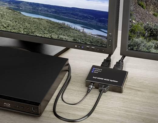 2 Port HDMI-Splitter Basetech Ultra HD-fähig 3840 x 2160 Pixel Schwarz