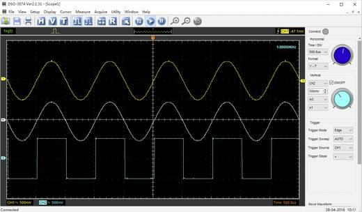 USB-Oszilloskop VOLTCRAFT DSO-3074 70 MHz 4-Kanal 250 MSa/s 16 kpts 8 Bit Digital-Speicher (DSO), Spectrum-Analyser