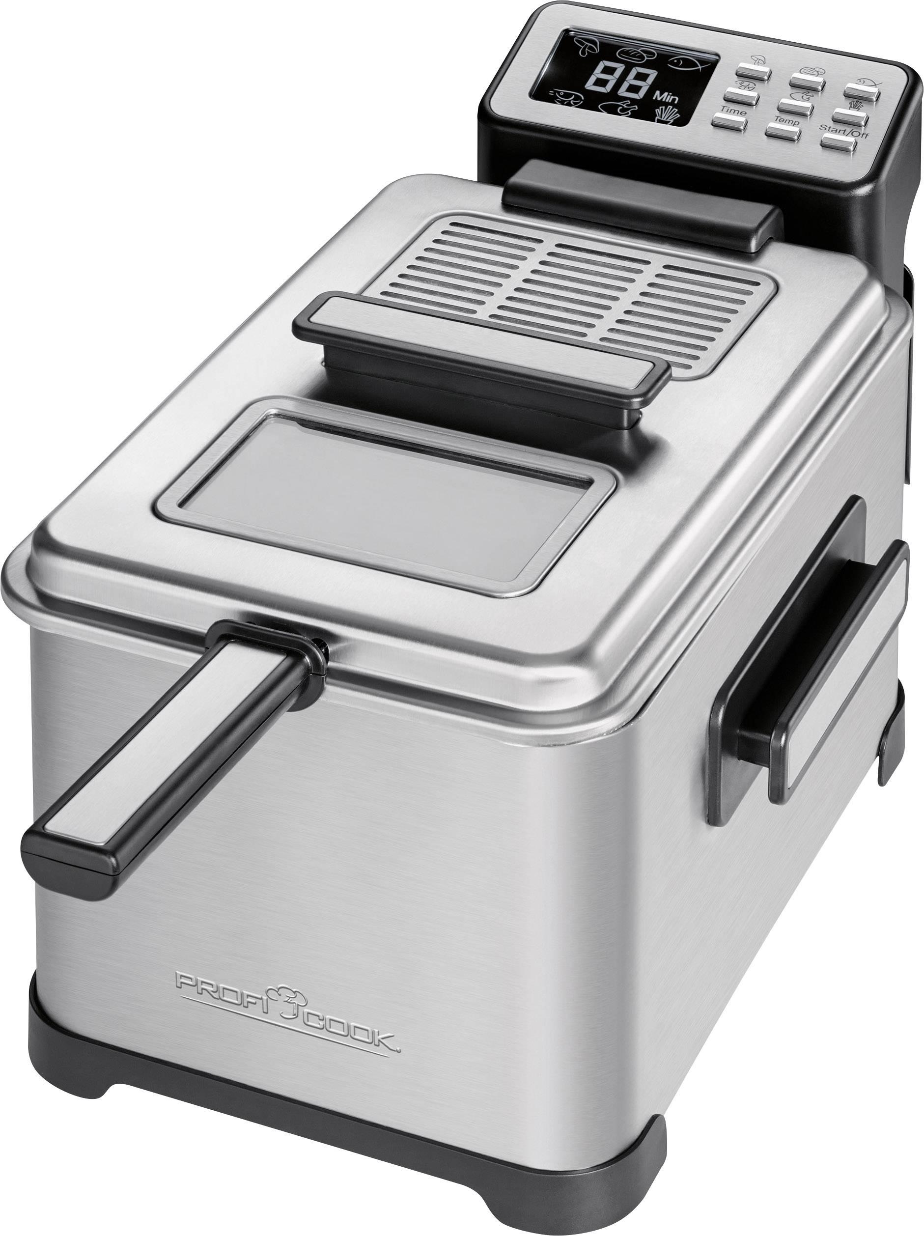 Fritteuse 2500 W Mit Display Profi Cook PC FR 10 Edelstahl, Schwarz