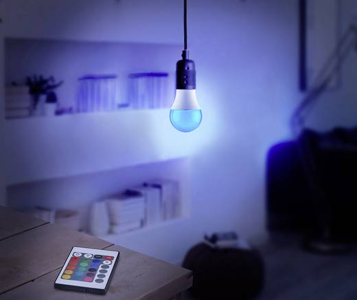 Basetech LED E27 Glühlampenform 6 W RGBW (Ø x L) 60 mm x 108 mm EEK: A colorchanging, dimmbar, inkl. Fernbedienung 1 St.