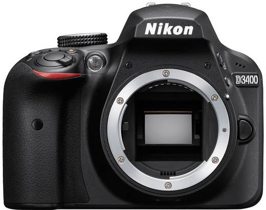 Digitale Spiegelreflexkamera Nikon D3400 Body 24.2 Mio. Pixel Schwarz Full HD Video, Blitzschuh, Bluetooth, Optischer S