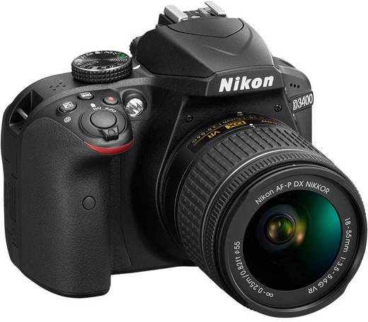 Nikon D3400 Kit Digitale Spiegelreflexkamera AF-P 18-55 mm VR 24.2 Mio. Pixel Schwarz Full HD Video, Blitzschuh, Bluetoo