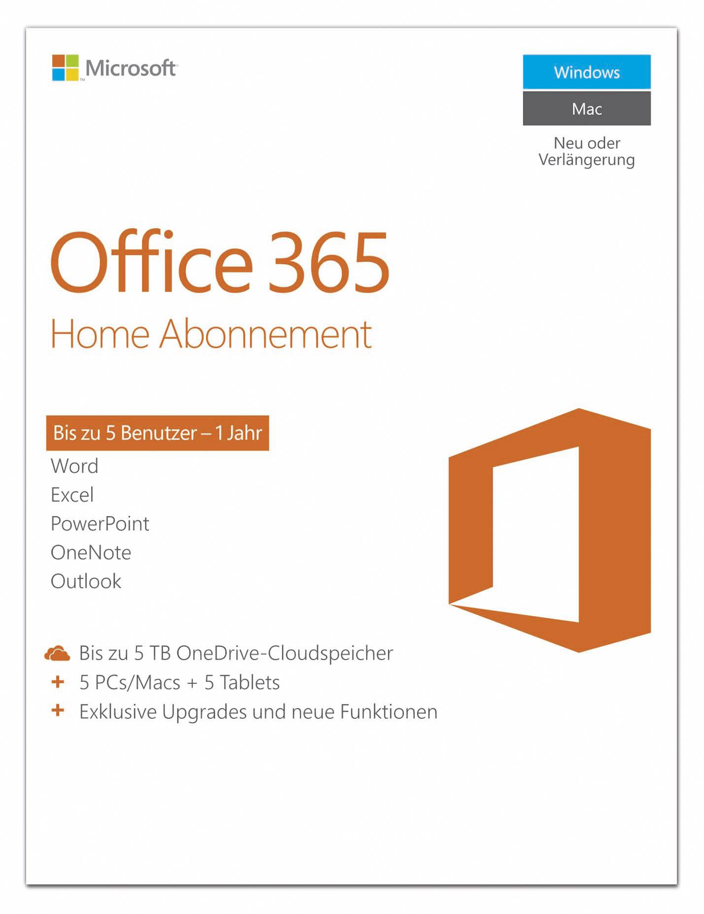 microsoft office 365 home vollversion 5 lizenzen windows. Black Bedroom Furniture Sets. Home Design Ideas