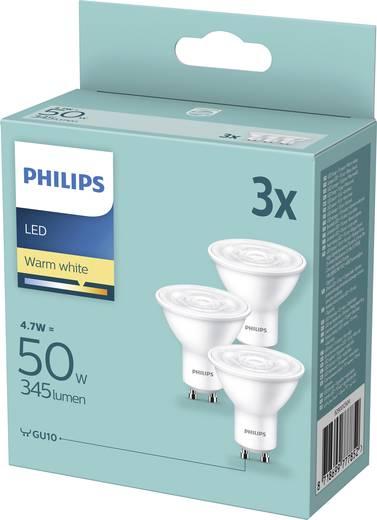 Philips Lighting LED EEK A+ (A++ - E) GU10 Reflektor 5 W = 50 W Warmweiß (Ø x L) 50 mm x 54 mm 3 St.