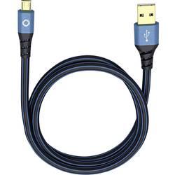 USB 2.0 prepojovací kábel Oehlbach USB Plus Micro 9333, 3.00 m, modrá
