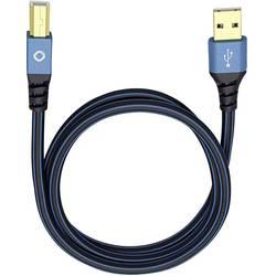 USB 2.0 prepojovací kábel Oehlbach USB Plus B 9343, 3.00 m, modrá