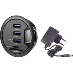 USB 3.0 hub Renkforce rf-3USBSD-EBH, 3 porty, so zabudovanou čítačkou SD kariet, so stavovými LED, 68 mm, čierna