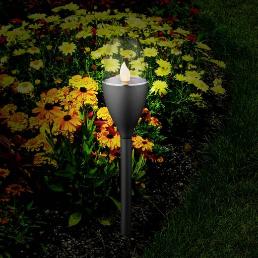 Solar-Gartenleuchte Fackel 5er Set LED 0.25 W Amber Polarlite Schwarz