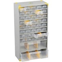 Skříňka na drobné součástky Allit 465620, přihrádek: 36, 300 x 140 x 565 mm, stříbrná, žlutá, transparentní