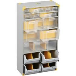 Skříňka na drobné součástky Allit 465610, přihrádek: 19, 300 x 165 x 565 mm, stříbrná, žlutá, transparentní