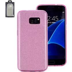 Perlecom zadní kryt na mobil Galaxy S7 Edge růžová, třpytivý efekt