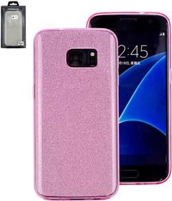 Zadní kryt na mobil Perlecom vhodné pro: Samsung Galaxy S7 Edge, růžová, třpytivý efekt